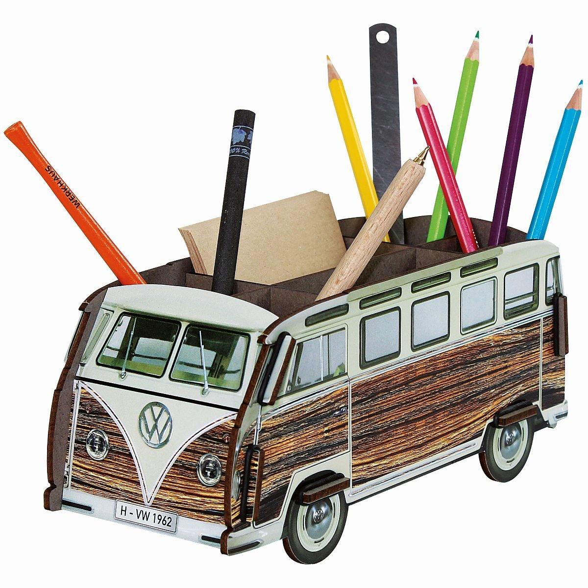 Werkhaus boîte à crayons-«bus vW bulli t1» wE2082 (aspect bois)