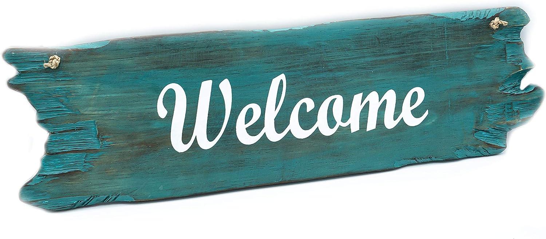Mienloco Welcome Targa da Porta in Legno Herz Welcome Effetto Vintage