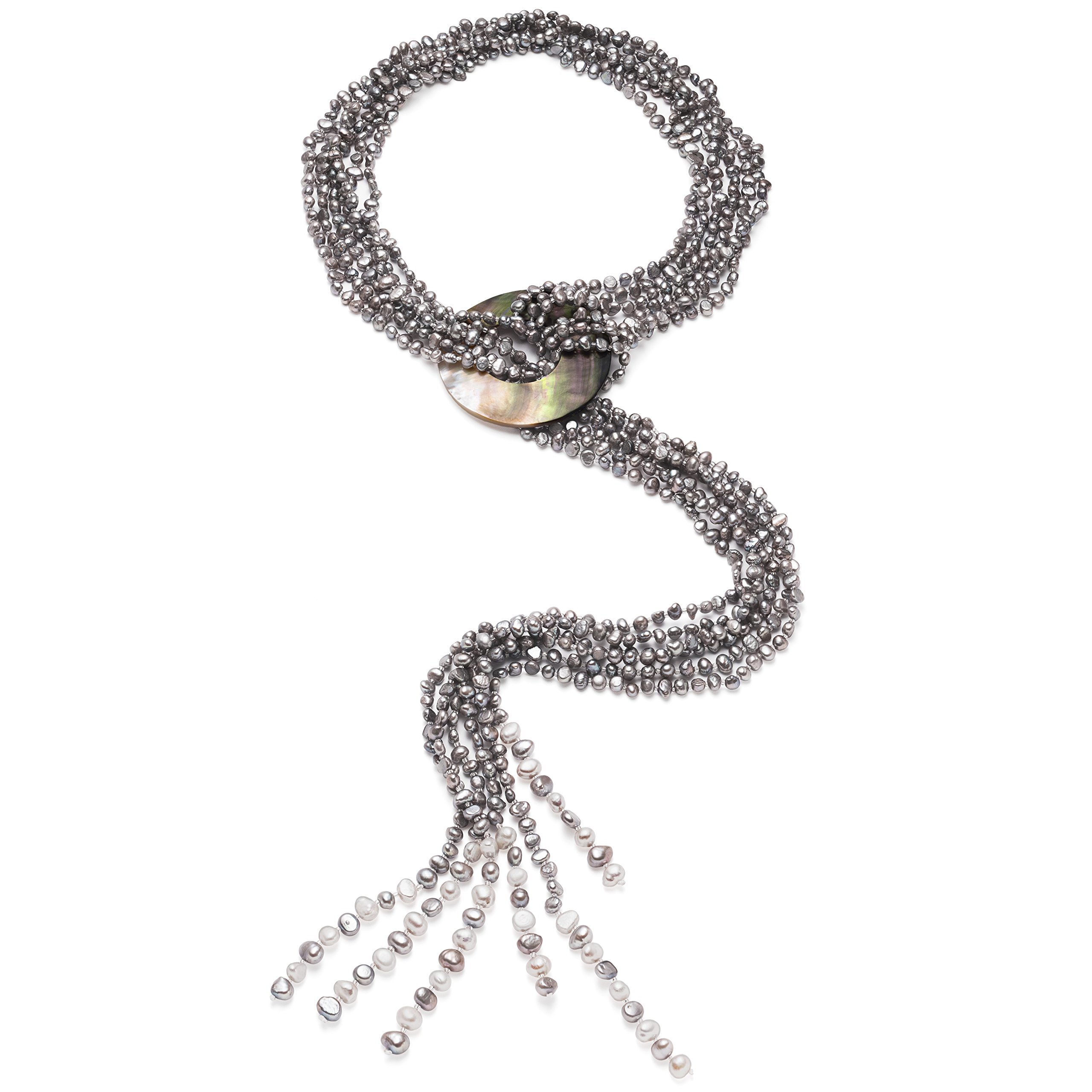 HinsonGayle 'Cleopatra' 6-Strand Silver Gray Cultured Freshwater Pearl & Shell Lariat Y Necklace-35 in length by HinsonGayle Fine Pearl Jewelry (Image #3)