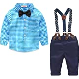 Baby Boy Clothes Set Plaid Shirt + Bowtie + Suspender Pant 4pcs Toddler Boy Infant Gentleman Outfits Suit