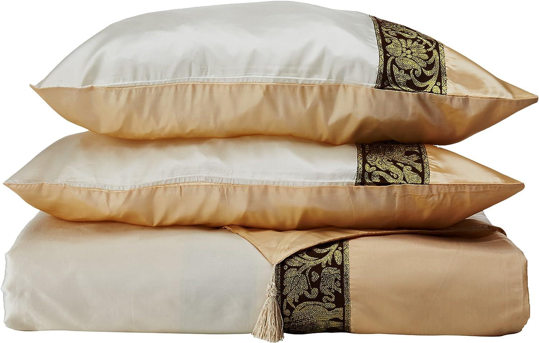 Oriental Furniture Thai Silk Elephant Duvet Set - Pearl White - Queen