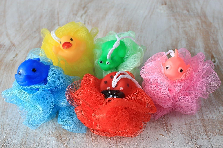 Childrens Character Bath Scrunchie/Ball/Mesh Sponge (Cotton Animal, White) MDB