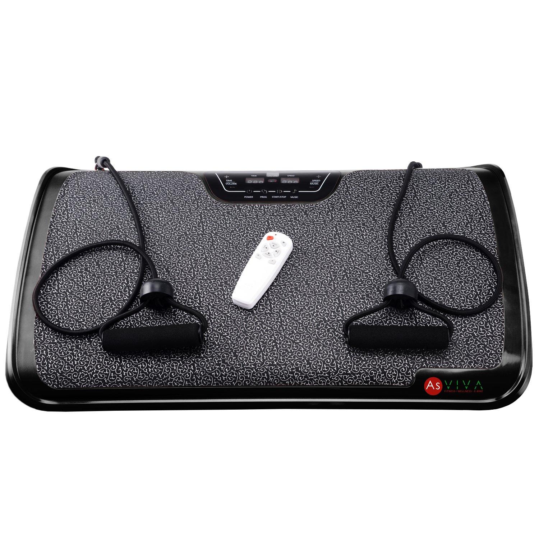 AsVIVA V9 Vibrationsplatte Vibraplate mit 200 Watt Motor, 3 Zonen inkl. Fernbedienung und Gummibänder