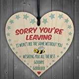 Red Ocean Sorry You're Leaving Wooden Hanging Heart Cute Funny Work Colleague Leaving Gift