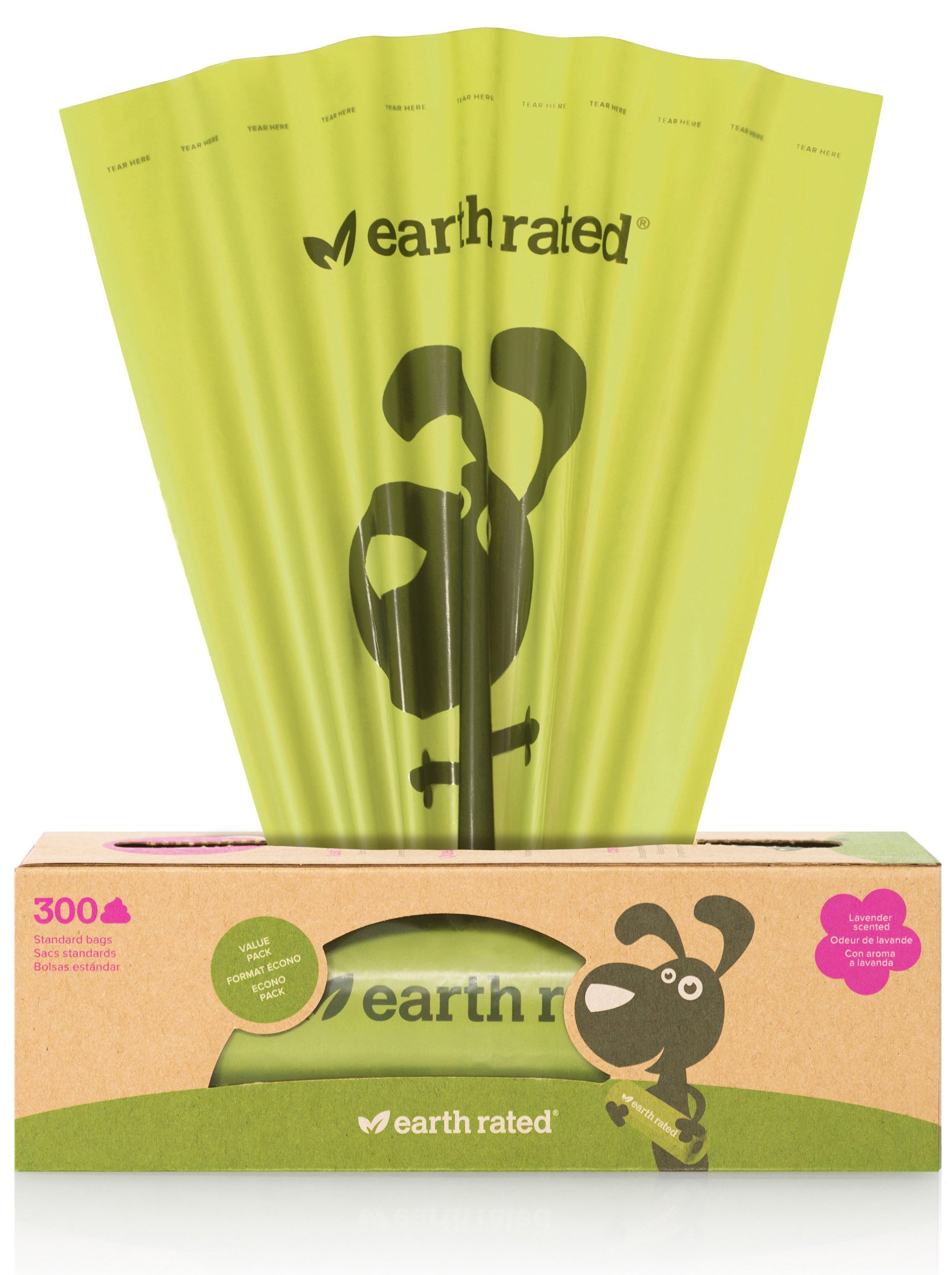 Earth Rated 300-Count Dog Waste Bags, Lavender-Scented Poop Bags on a Single Roll for Pantries (not on small rolls)