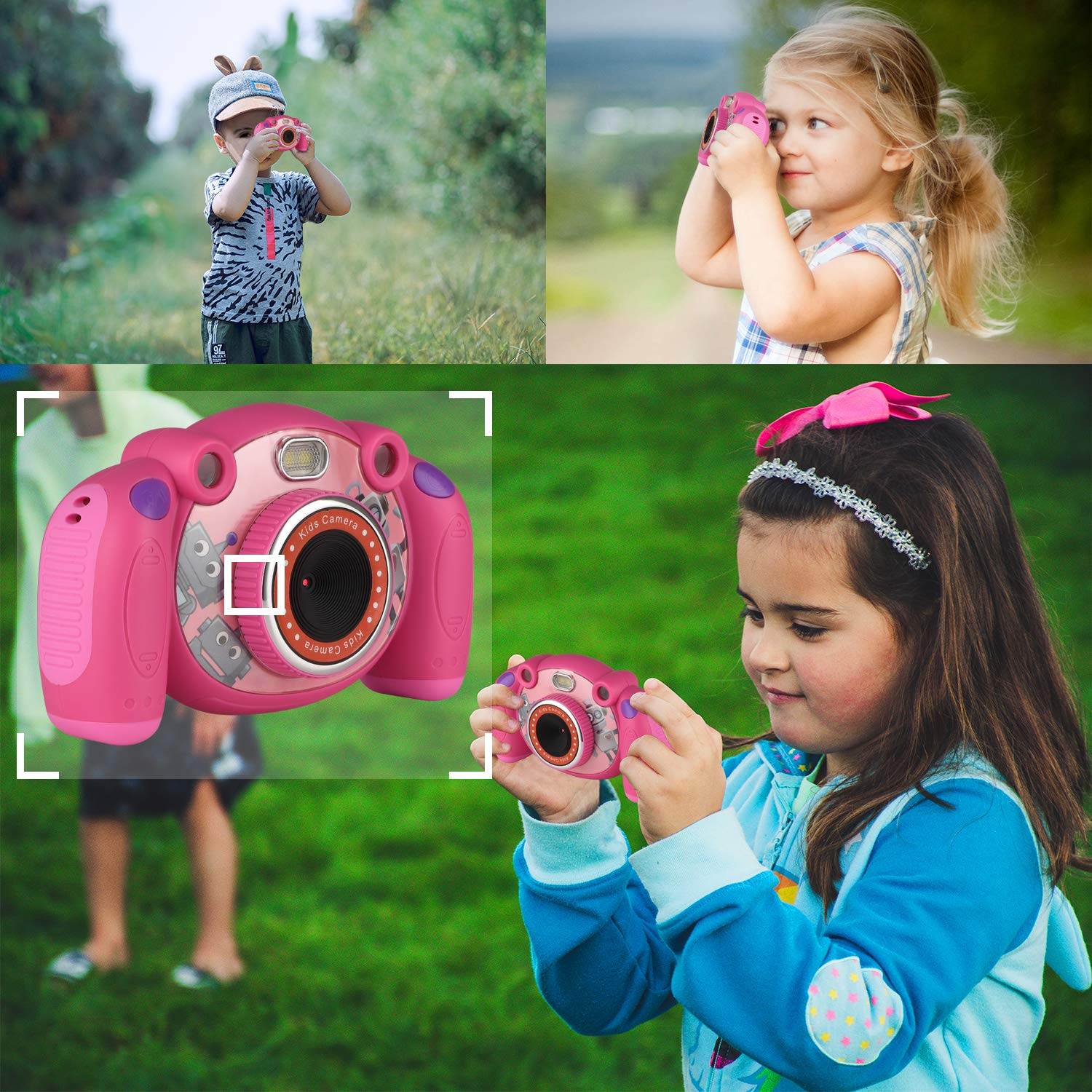 eyesen Kids Camera Digital Child Camcorder Shockproof Mini Camera with LED Flash Light and 2.0 Inch Sreen, Gifts for 4-8 Year Old Girls by eyesen (Image #5)