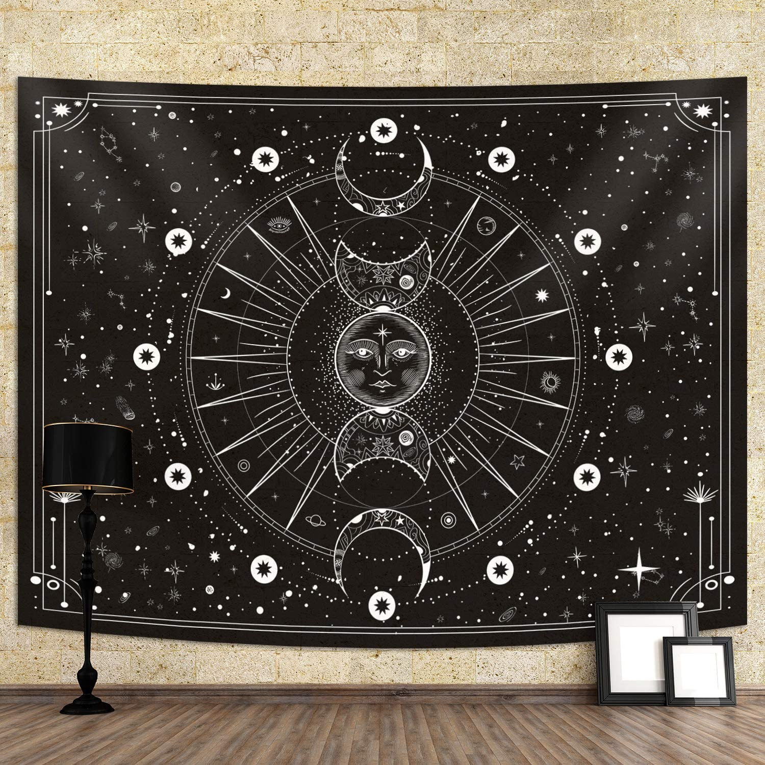 Sun Moon Tapestry Wall Hanging Stars Space Psychedelic Black and White Wall Tapestry for Bedroom Home Wall Décor (60x80 Inches, 150x200 cm)
