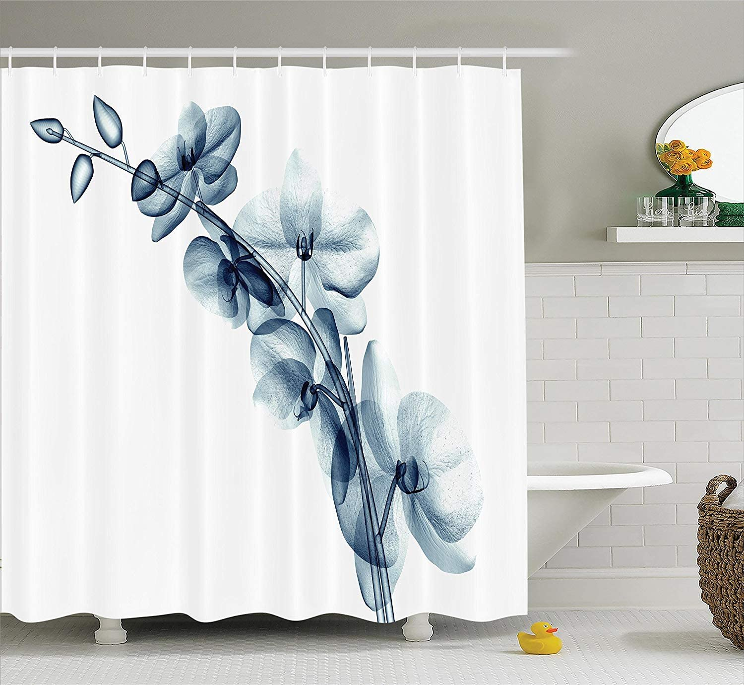 "Ambesonne Flower Shower Curtain, Contemporary X-ray Illustration of Orchide Flower Unseen Nature Picture, Cloth Fabric Bathroom Decor Set with Hooks, 75"" Long, White Teal"