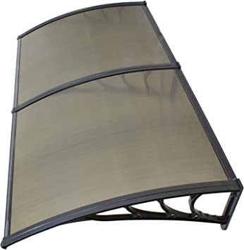 Amazon Com Zeny 40 X 80 Window Awning Overhead Door Polycarbonate Cover Front Door Outdoor Patio Canopy Sun Shetter Uv Rain Snow Protection Hollow Sheet Brown Home Improvement