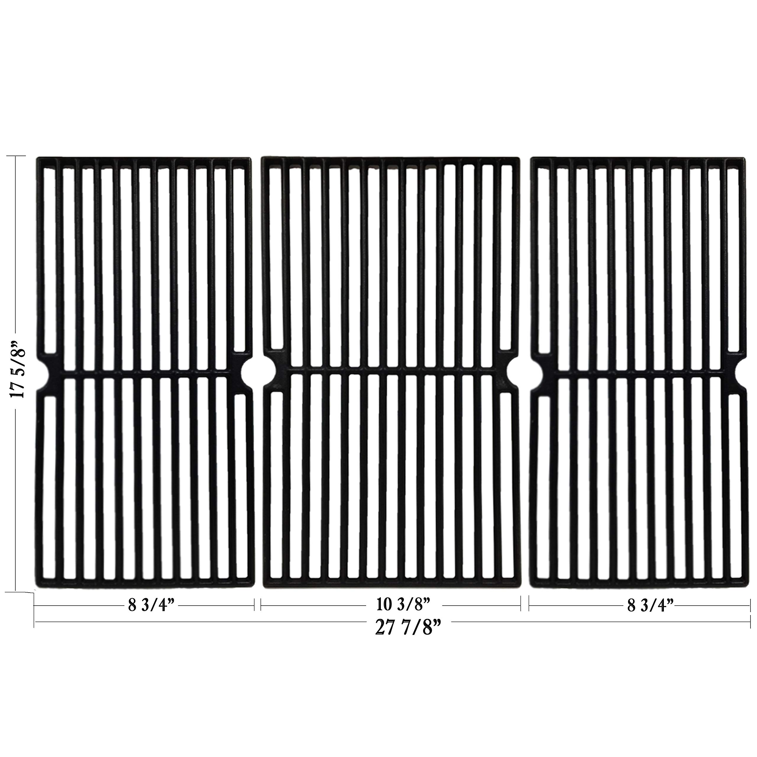 Hisencn Cast Iron Cooking Grid Grate Replacement for Brinkmann Pro Series 8300, 810-1415-F, 810-7231-W, 810-8300-W, 810-9400-0, Grill King 810-9325-0 Gas Grill Models, Set of 3 Grill Cooking Grids