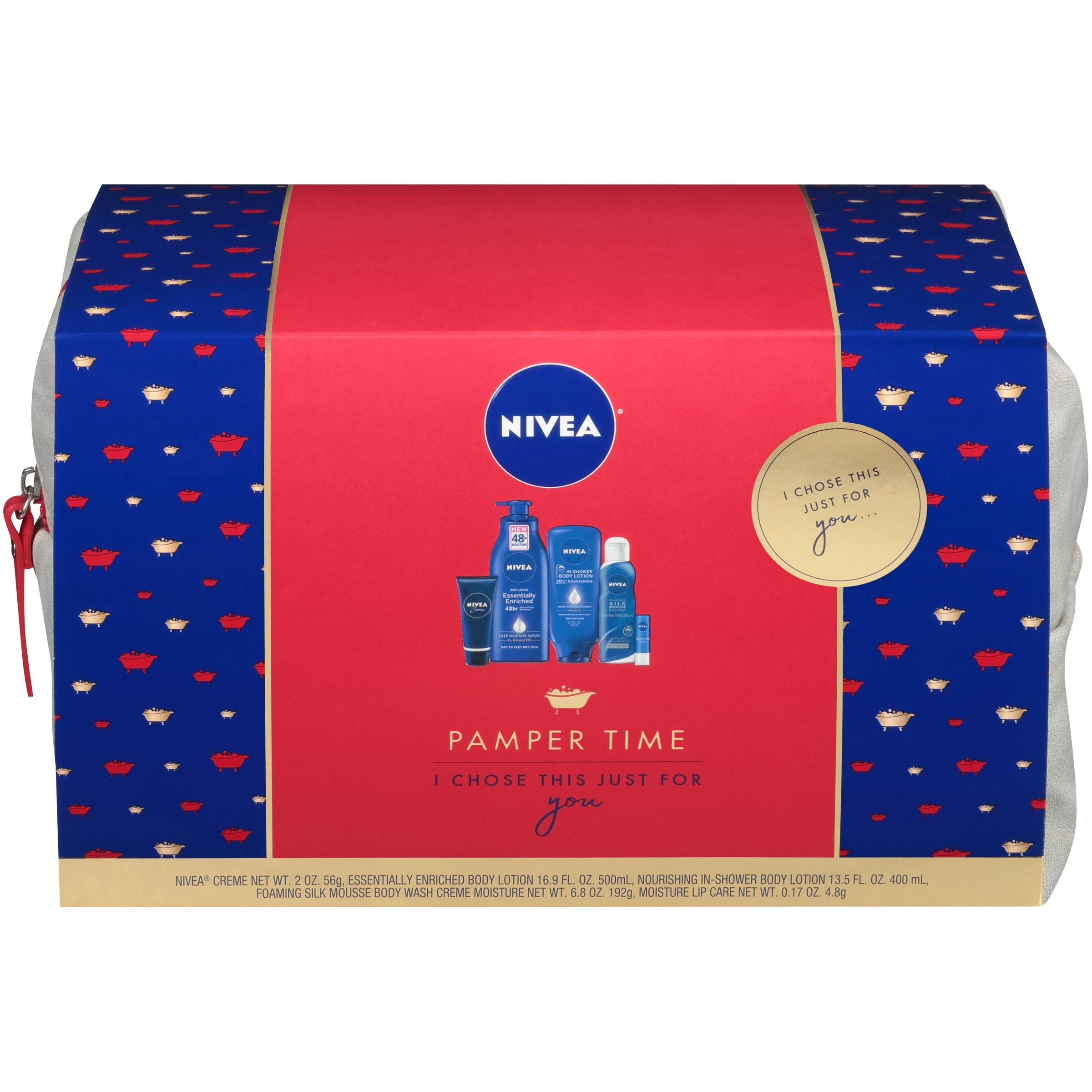 NIVEA Pamper Time Gift Set - 5 Piece Luxury Collection of Moisturizing Products and Travel Bag Included by Nivea