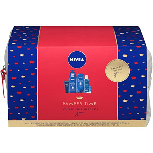 NIVEA Pamper Time Gift Set - 5 Piece Luxury Collection of Moisturizing Products and Travel Bag Included