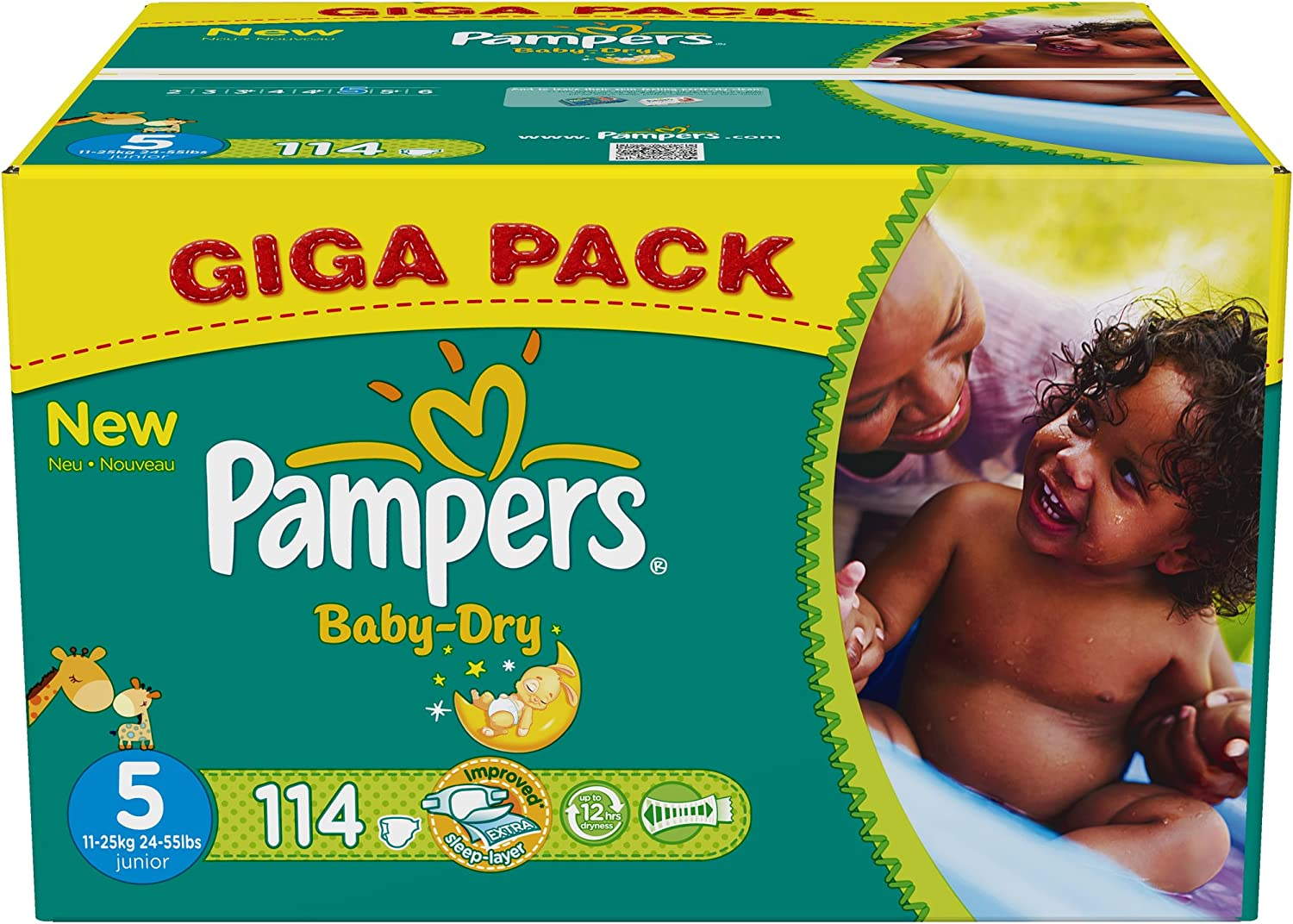 Couches Pampers BABY DRY TAILLE 5 1 Mois de Consommation 144 Couches 11-25KG