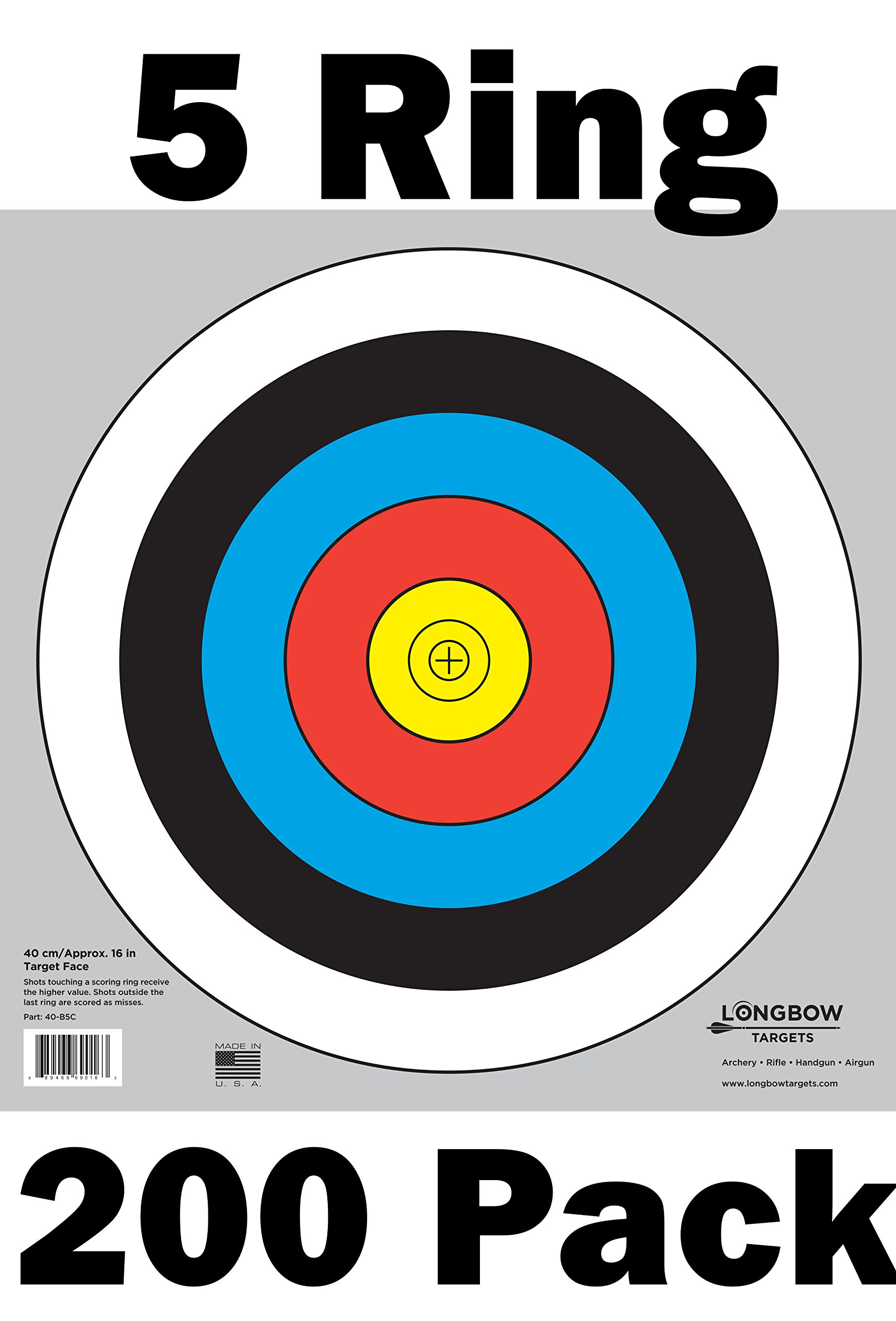 Archery 40cm & 80cm Targets by Longbow (200 pack, 40cm/approx 17'' (5 Ring))