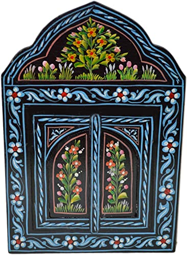 Moroccan Wall Mirror With Doors Hand Painted Arabesque Handmade Decor Small Black