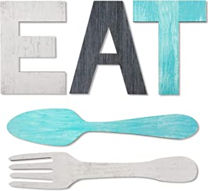 Set of EAT Sign, Fork and Spoon Wall Decor, Rustic Wood Eat Decoration, Cute Eat Letters for Kitchen and Home, Decorative Hanging Wooden Letters, Country Wall Art, Dining Room (Stylish Color)