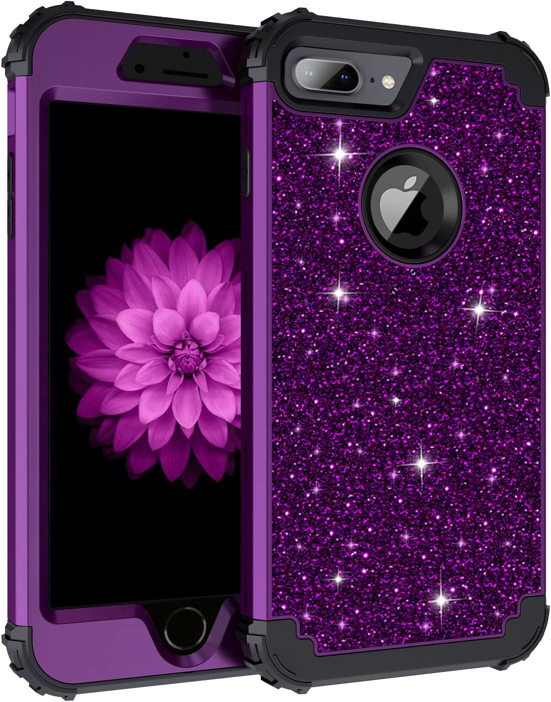 Lontect for iPhone 8 Plus Case, iPhone 7 Plus Case Glitter Sparkle Bling Heavy Duty Hybrid Sturdy High Impact Shockproof Protective Cover Case for Apple iPhone 8 Plus/iPhone 7 Plus, Shiny Purple/Black