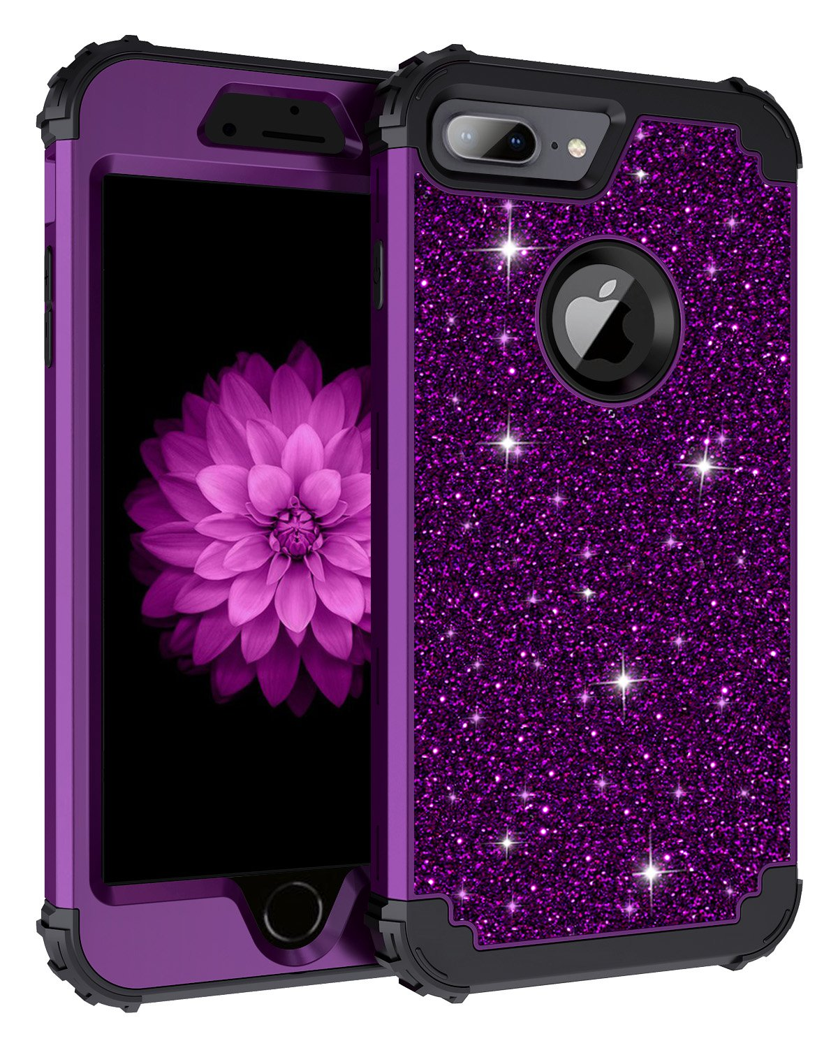 Lontect Compatible iPhone 8 Plus Case Glitter Sparkle Bling Heavy Duty Hybrid Sturdy Armor Defender High Impact Shockproof Protective Cover Case for Apple iPhone 8 Plus/7 Plus, Shiny Purple/Black