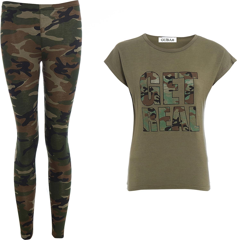 GUBA/® Girls GET Real TOP /& Camouflage Legging Set Gymwear Sportswear Summer Suit
