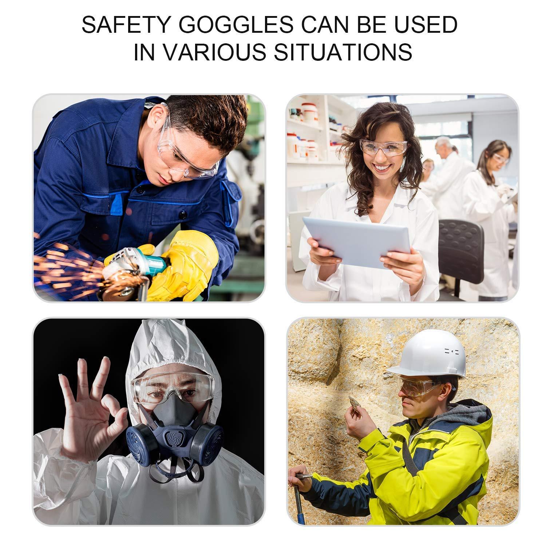 Deyard Gafas de Protecci/ón con Lentes Antivaho Resistentes a Salpicaduras Gafas con Pieza de la Nariz Suave Ligeras y C/ómodas de Llevar
