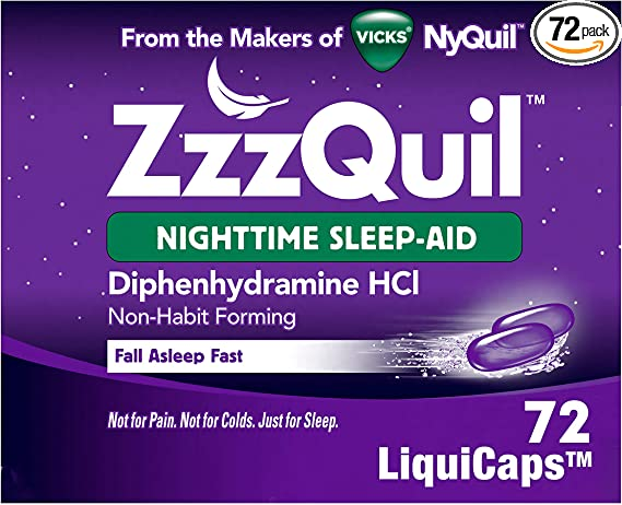 Amazon.com: ZzzQuil Nighttime Sleep Aid, Non-Habit Forming, Fall Asleep Fast and Wake Refreshed, 72 Count LiquiCaps: Health & Personal Care