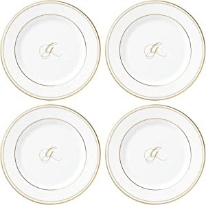 Lenox Federal Gold Script Monogram Dinnerware Tidbit Plates, Set of 4, G