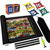 Puzzle Mat Roll Up,Store and Transport Puzzles to 1500 Pieces,with 4 Folding Jigsaw Sorting Tray, Hand Pump, Inflatable Tube,