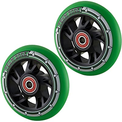 Team Dogz 100mm Swirl Scooter Wheels - Black Core and Green Tyre (Pair)