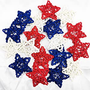 18pcs 4th of July Star Rattan Decoration, Red Blue White Stars for 4th of July Independence Day Home Decor DIY Craft Vase Bowl Filler Table Decoration