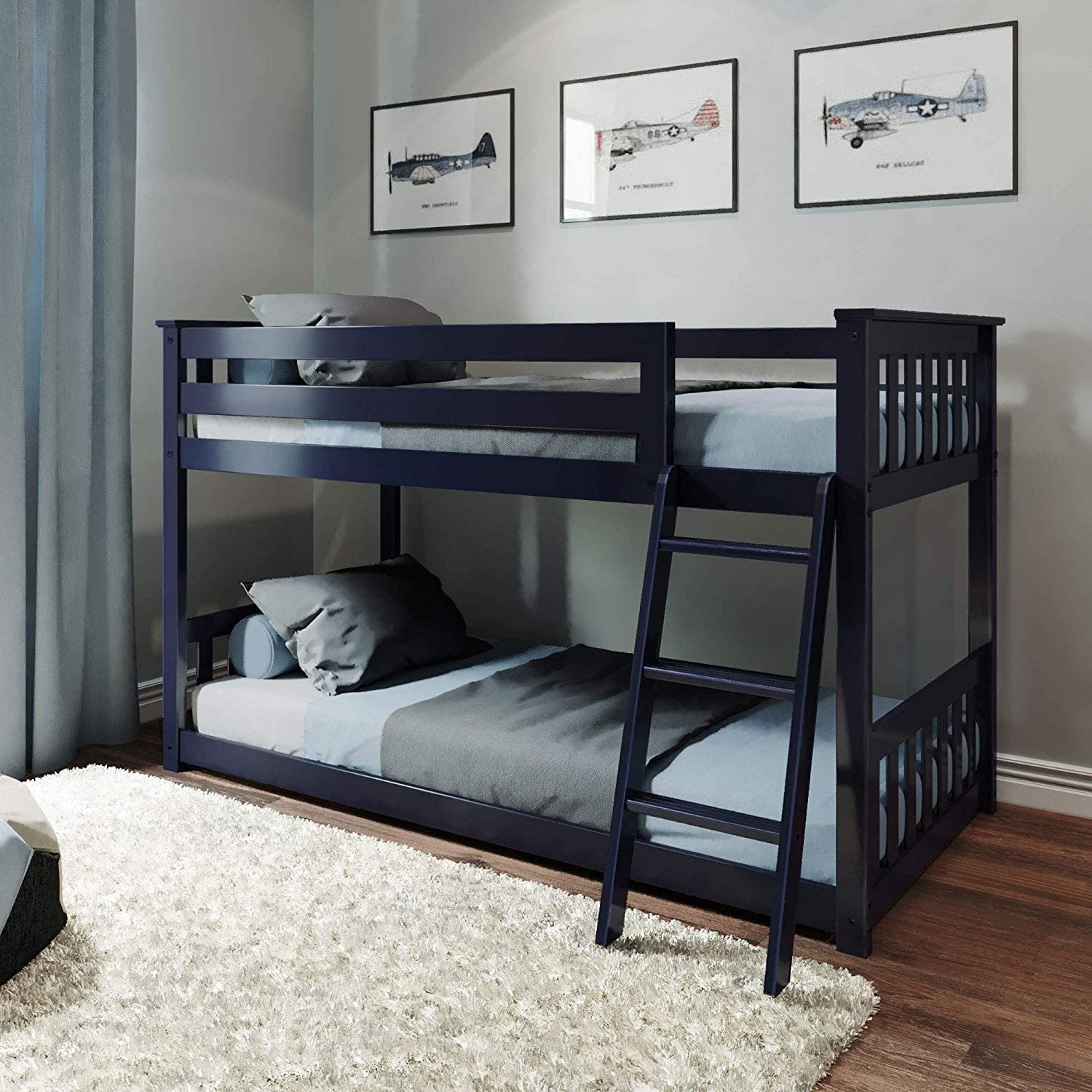 Amazon Com Max Lily Solid Wood Twin Low Bunk Bed Blue Kitchen