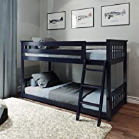 Max & Lily 180214-131 Solid Wood Twin Low Bunk Bed, Blue, Twin/Twin