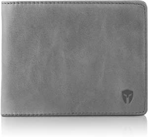 2 ID Window RFID Wallet for Men, Bifold Side Flip, Extra Capacity Travel Wallet (Slate Gray - Distressed Leather)