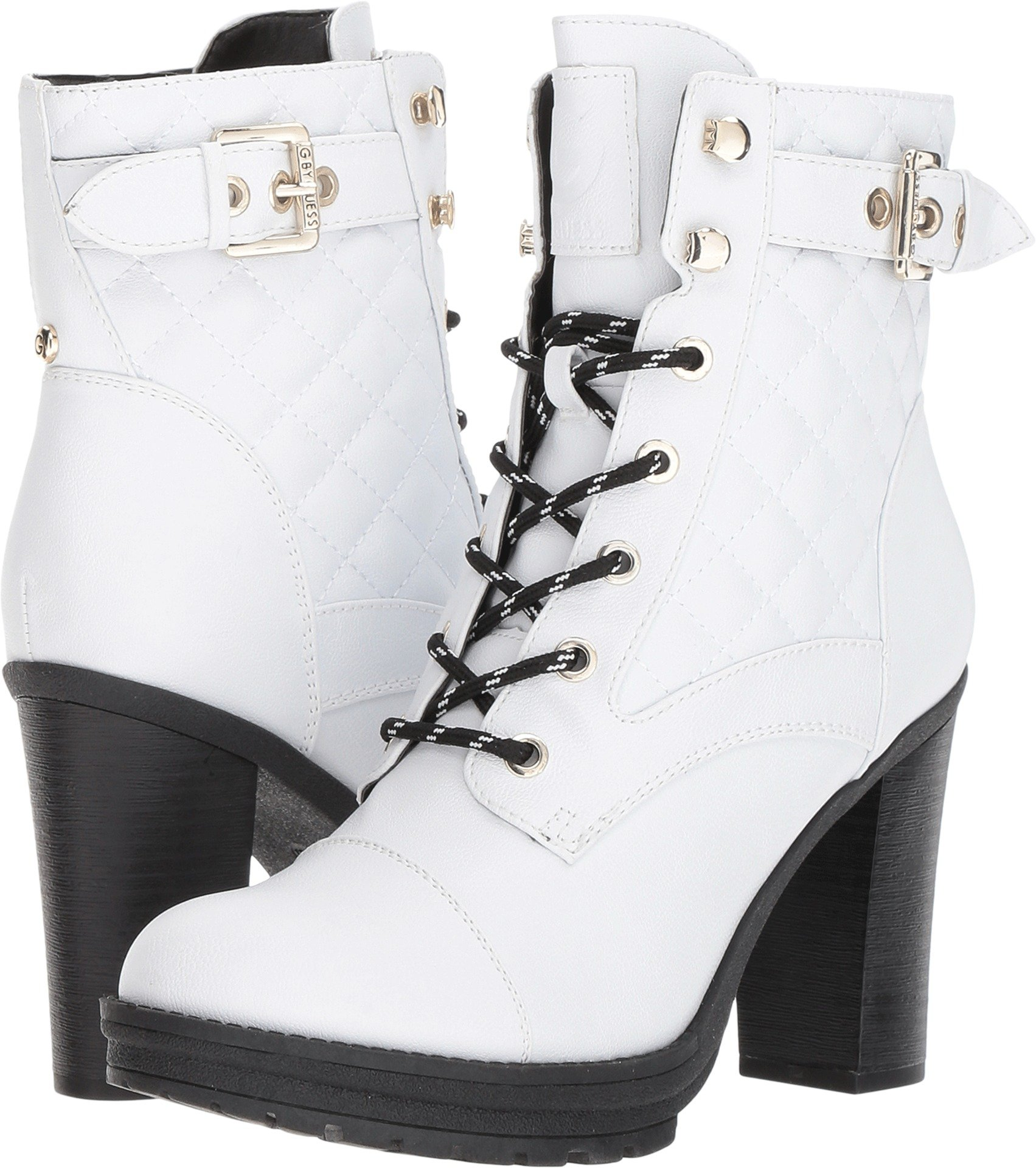 G by GUESS Womens Gift2 Almond Toe Ankle Fashion Boots, White, Size 6.5