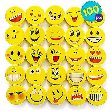 THE TWIDDLERS 100 Emoji Emoticon Lápiz Gomas Borrar - Lindos Relleno Piñatas Bolsas De Fiesta Regalos para Cumpleaños Niños Halloween Año Nuevo ...