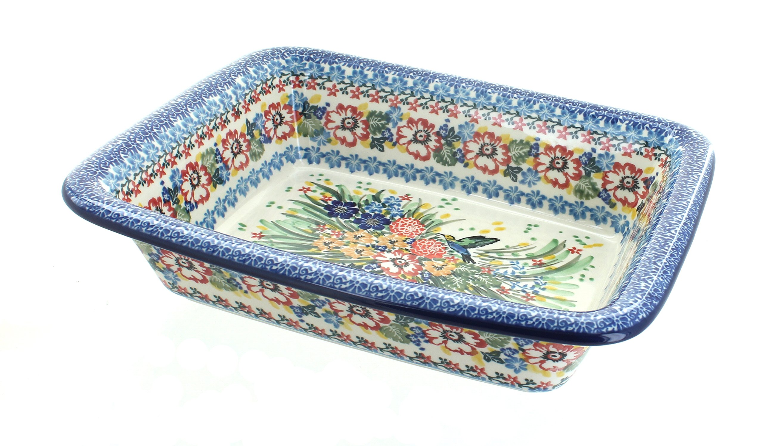 Polish Pottery Hummingbird Small Rectangular Baker