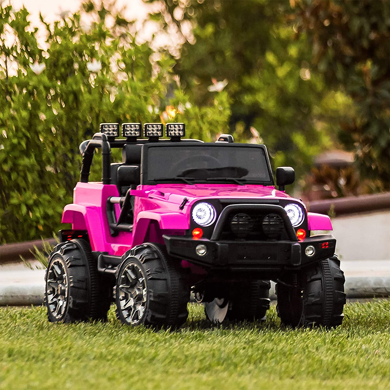 amazon com: best choice products 12v ride on car truck w/ remote control, 3  speeds, spring suspension, led light - pink: toys & games