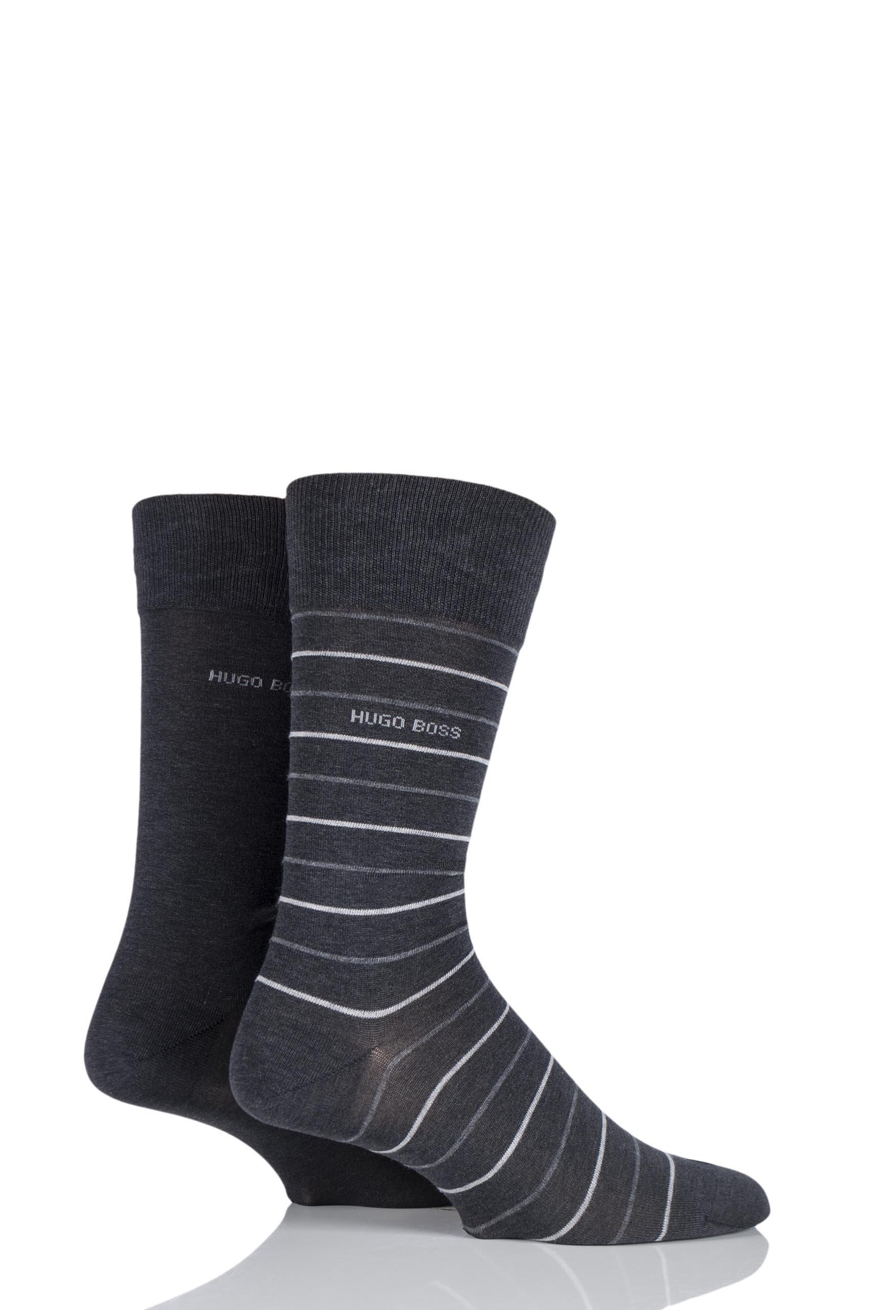 Mens 2 Pair Hugo Boss Fine Striped and Plain Mercerised Cotton Socks Charcoal 5.5-8