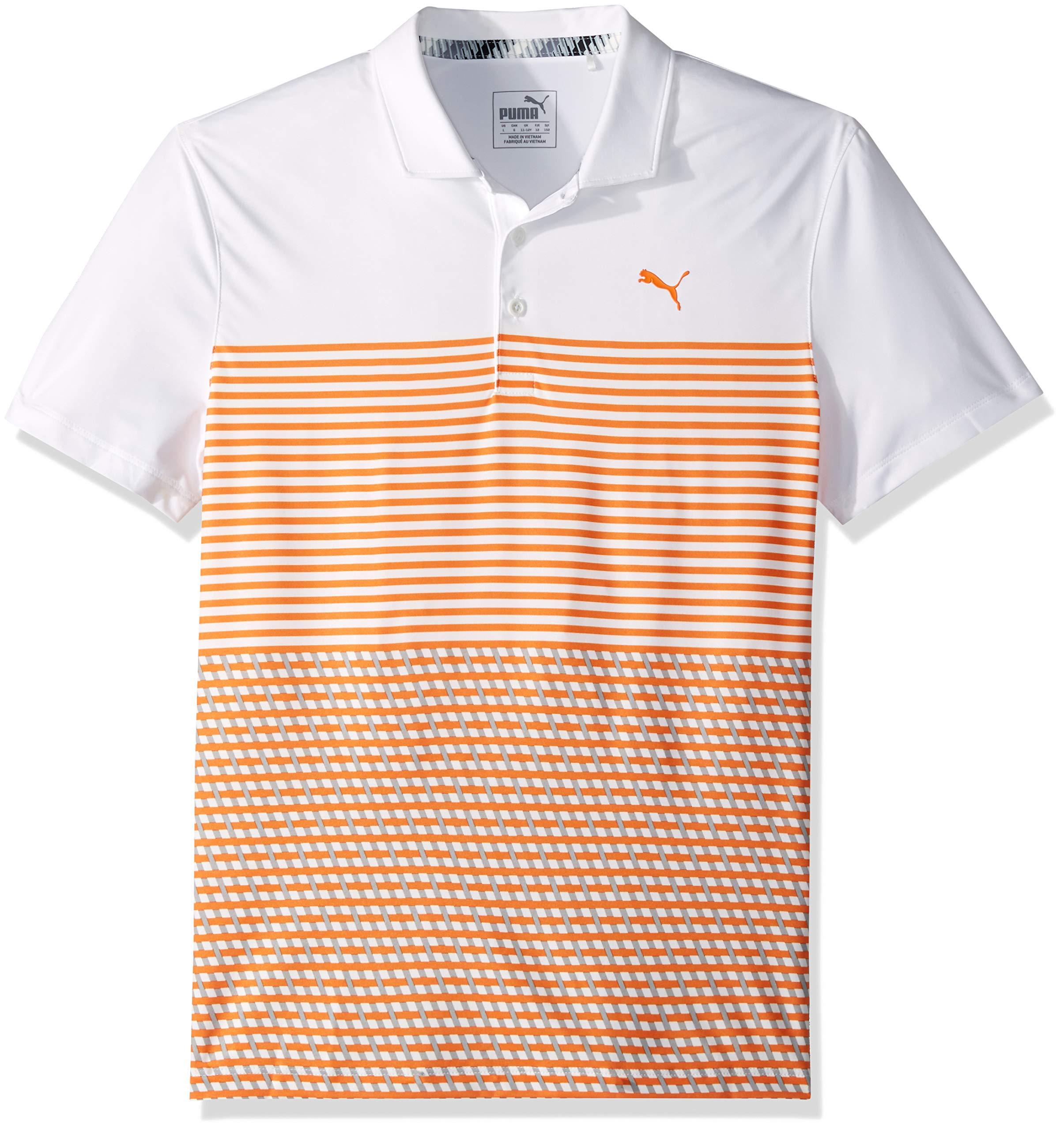 Puma Golf Boys 2019 Road Map Polo, Bright White-Vibrant Orange, Small
