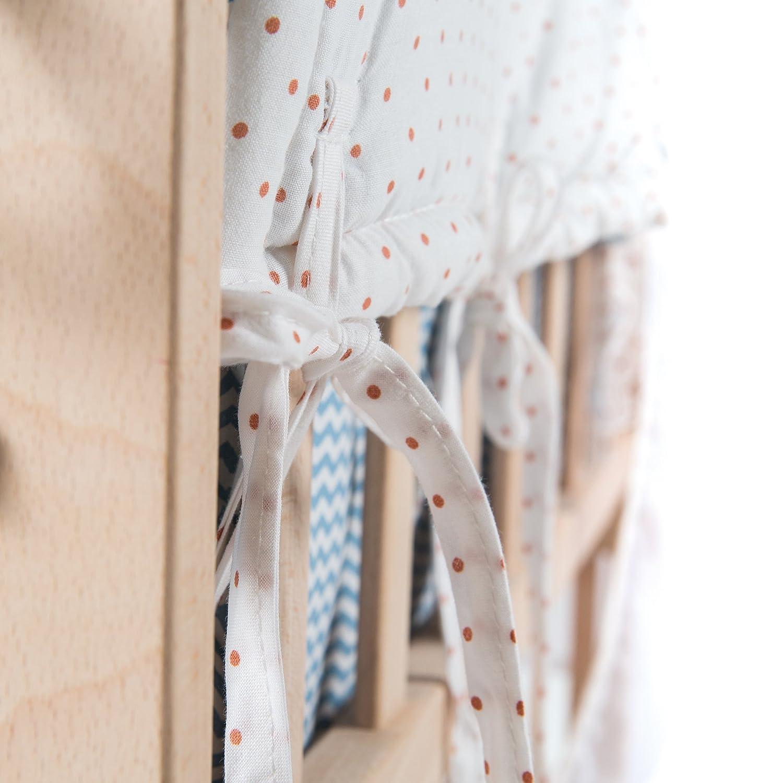 y ropa de cuna de fabricada en madera lacada en blanco y con vestiduras completas con vestiduras Adam /& the owl cuna balancin 80x80cm Cuna de colecho roba 4 en 1 utilizable como cuna de colecho cuna normal y banco para ni/ños
