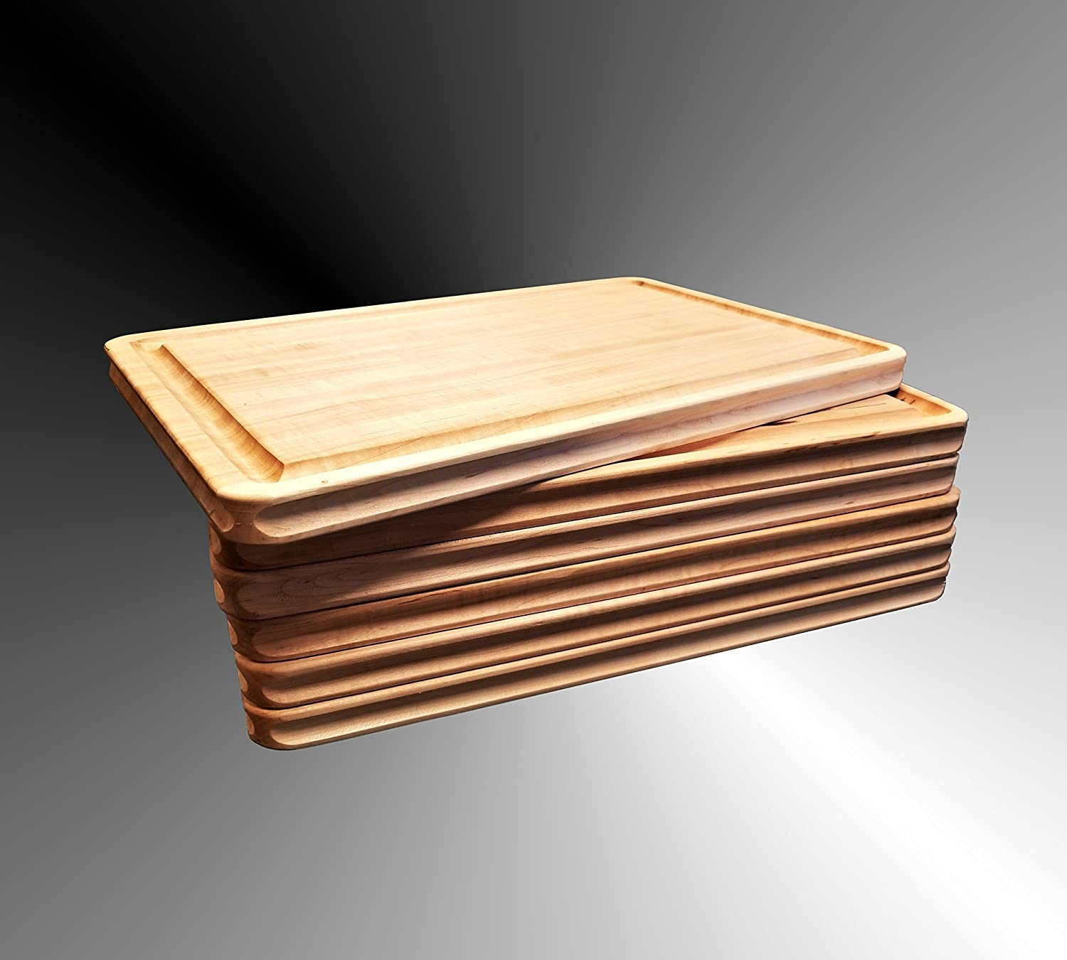 Maple Wood Cutting Board Edge Grain 24 x 18 x 1 Inches, Reversible, with Deep Well Juice Groove, Carved Inset Handles Grip, Handmade By Pacific Wood in The USA.