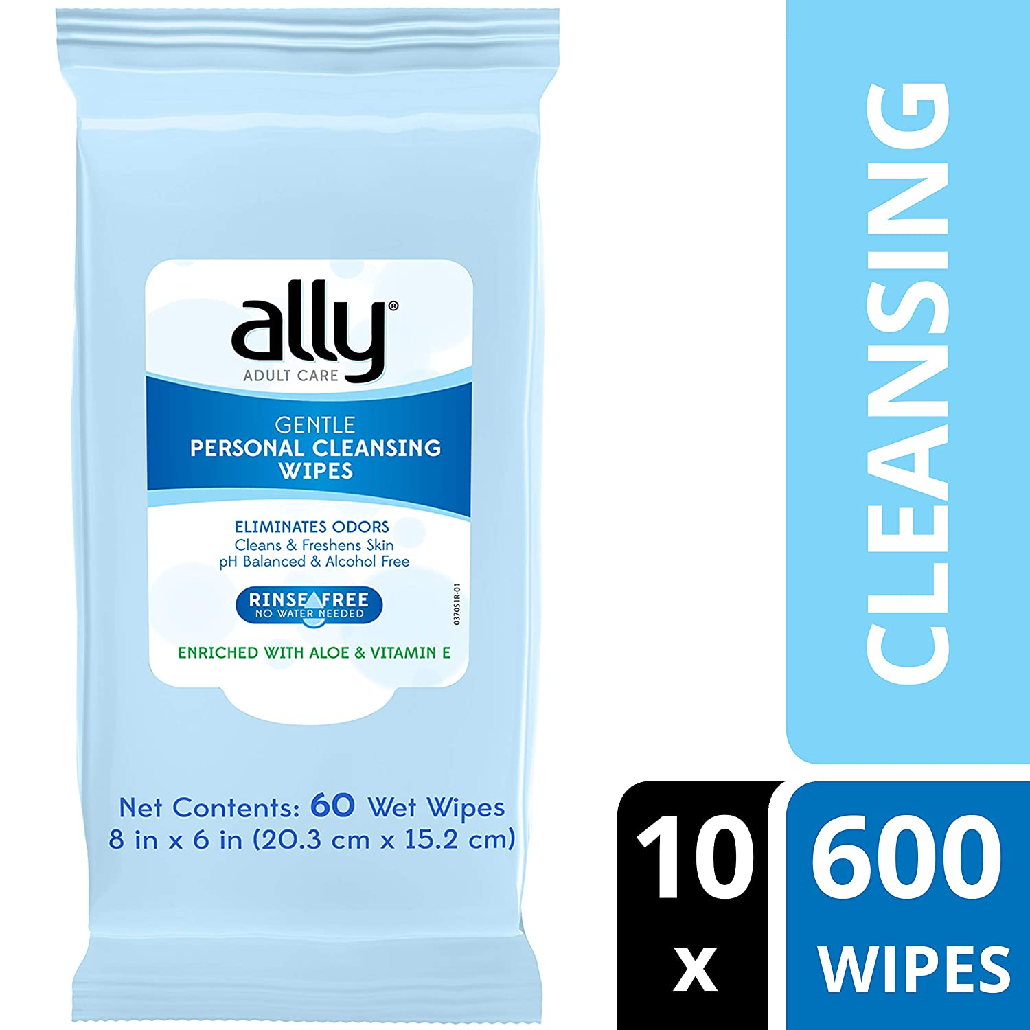 Ally Personal Cleansing Wipes, Rinse-Free with Aloe and Vitamin E, 600 Wipes (10 Packs of 60 Wipes)