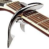 Mugig カポタスト ワンタッチ ビビらず ばね式 鮫形 亜鉛合金製 ギター エレキギターなど用 ブラック