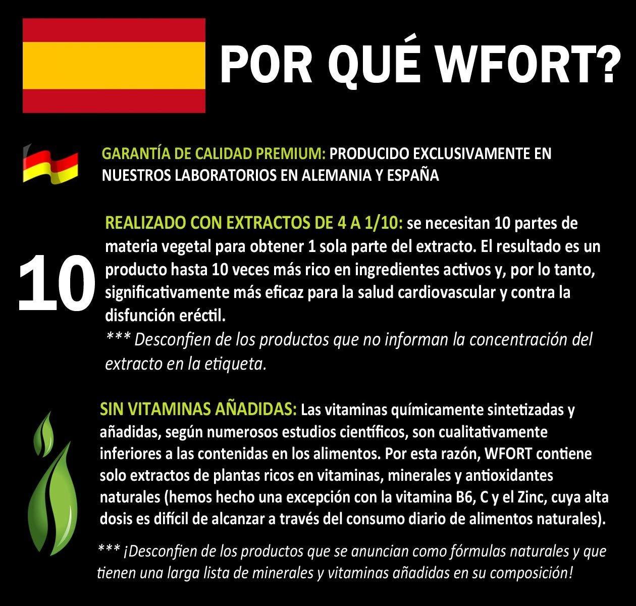 WFORT - 90 Pastillas L-Arginina, Maca, Ginseng, Tribulus, Guaranà, Goji, Zinco: Amazon.es: Salud y cuidado personal