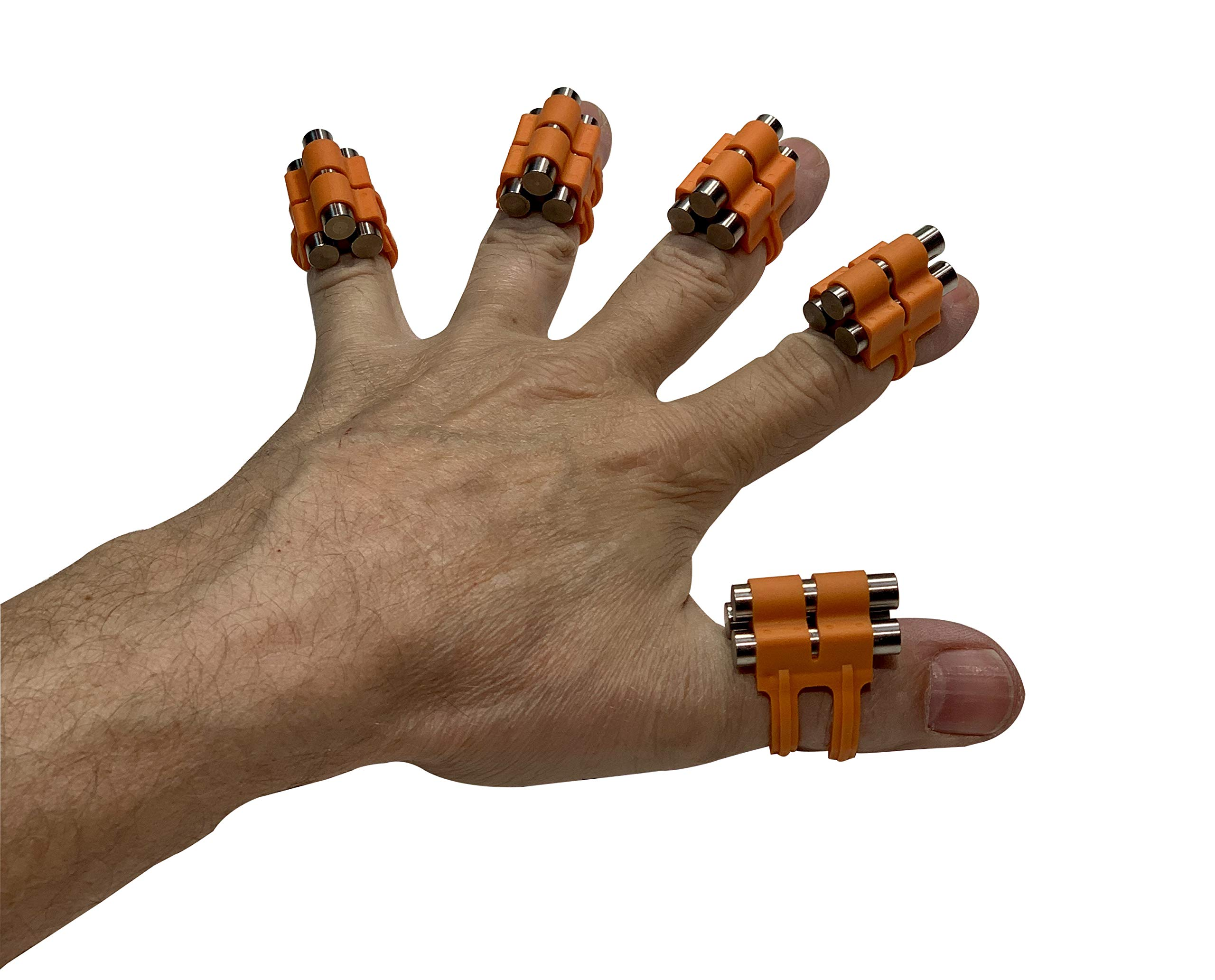 Finger Weights Original - Set of 5 - for Music Sports Gamers and Health Black or Multicolor Grip Strength Hand Grip Strengthener Speed Trainer (Orange)