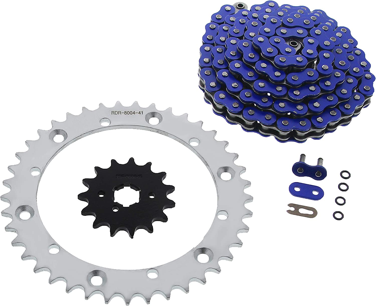 Blue O-Ring Chain /& Silver Sprocket 15//41 102L fits 2001-2004 fits Yamaha 350 Warrior