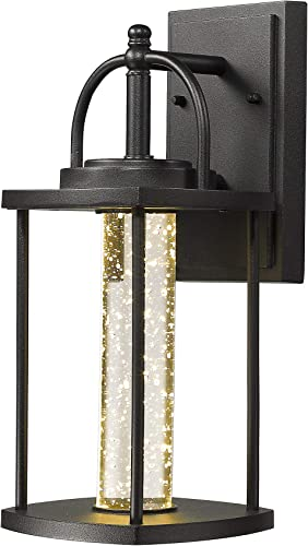 Zeyu Outdoor LED Wall Lantern Sconce, 10W Exterior Wall Mount LED Light Fixture in Black Finish with Bubble Glass, 0407-WD