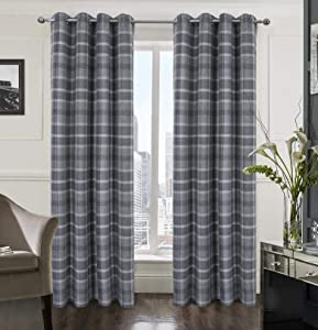 Plaid Tartan Check Modern Classic Window Treatment Curtain/Drapes for Living Room 2 Panels Gray 54X95 Inch