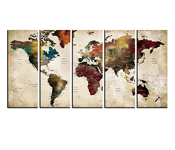 Amazon.com: Large World Map Canvas Push Pin Map For ...