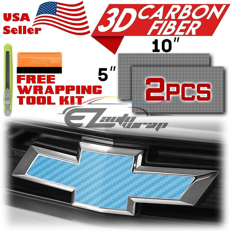 EZAUTOWRAP Free Tool Kit 2Pcs 5x10 Chevy Emblem Bowtie 3D Matte Sky Blue Carbon Fiber Vinyl Wrap Sticker Decal Film Sheet