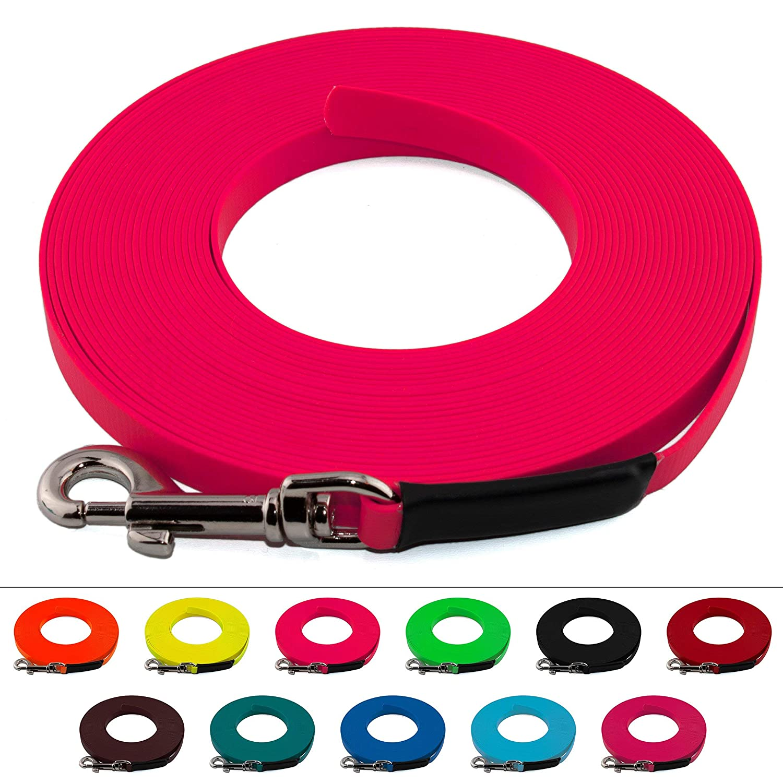 outlet in vendita LENNIE Traino guinzaglio extra leggero in BioThane Super Super Super Flex da 19 mm 1-30 metri [25 m] 6 colorei [rosa neon] cucita senza cinturino a mano  a prezzi accessibili